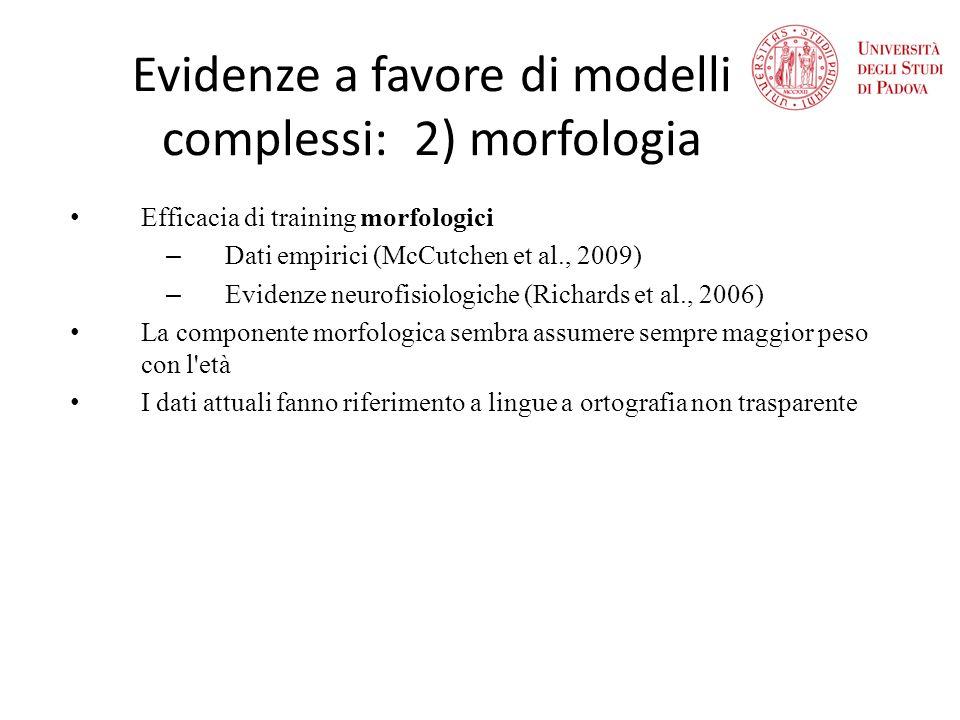 Evidenze a favore di modelli complessi: 2) morfologia