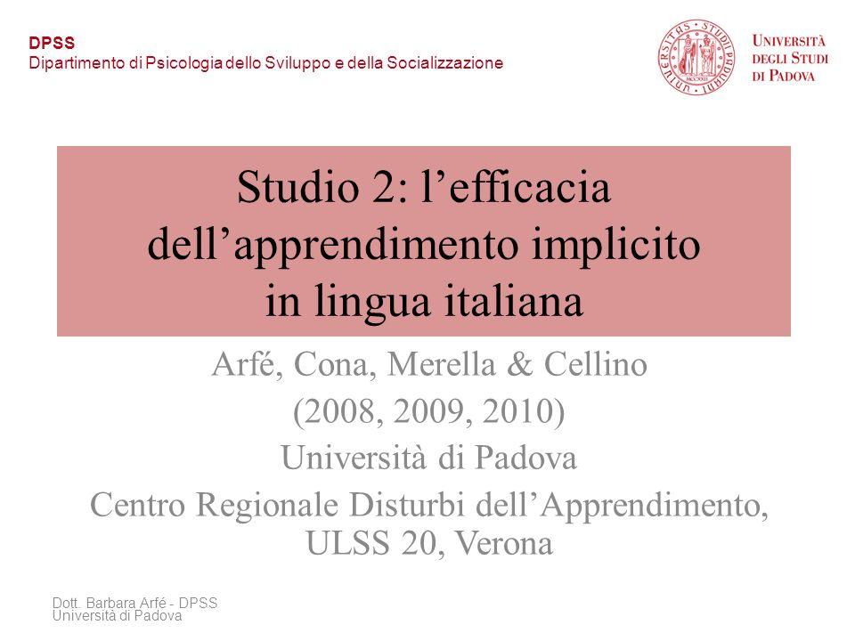 Studio 2: l'efficacia dell'apprendimento implicito in lingua italiana