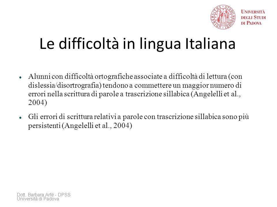 Le difficoltà in lingua Italiana