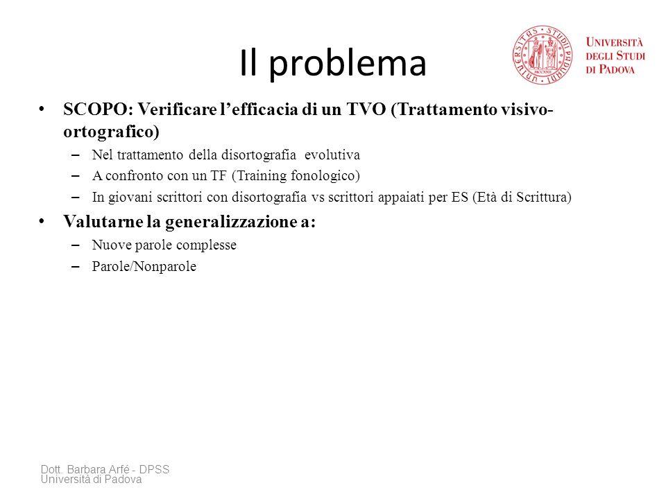 Il problema SCOPO: Verificare l'efficacia di un TVO (Trattamento visivo-ortografico) Nel trattamento della disortografia evolutiva.
