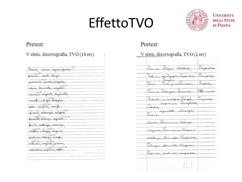 EffettoTVO Pretest: Pretest: V elem, disortografia, TVO (18 err)