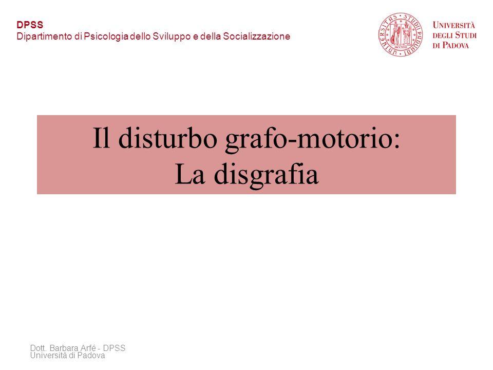 Il disturbo grafo-motorio: La disgrafia