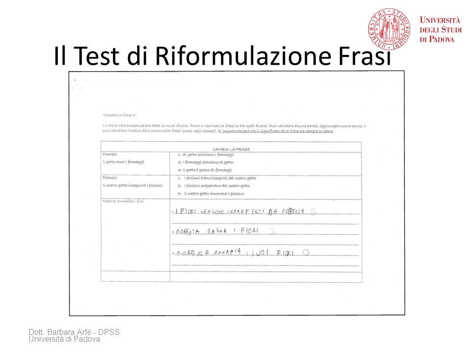 Il Test di Riformulazione Frasi