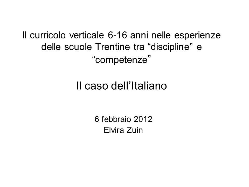 Il curricolo verticale 6-16 anni nelle esperienze delle scuole Trentine tra discipline e competenze Il caso dell'Italiano