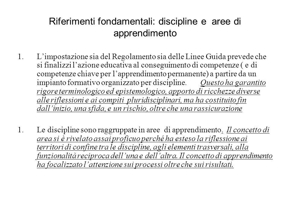 Riferimenti fondamentali: discipline e aree di apprendimento