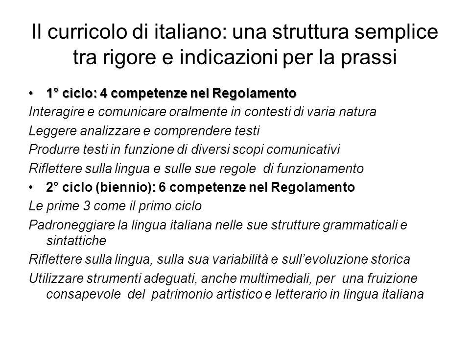 Il curricolo di italiano: una struttura semplice tra rigore e indicazioni per la prassi