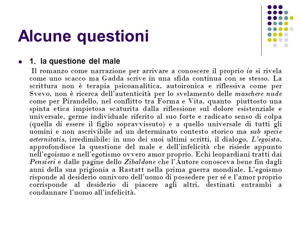 Alcune questioni 1. la questione del male