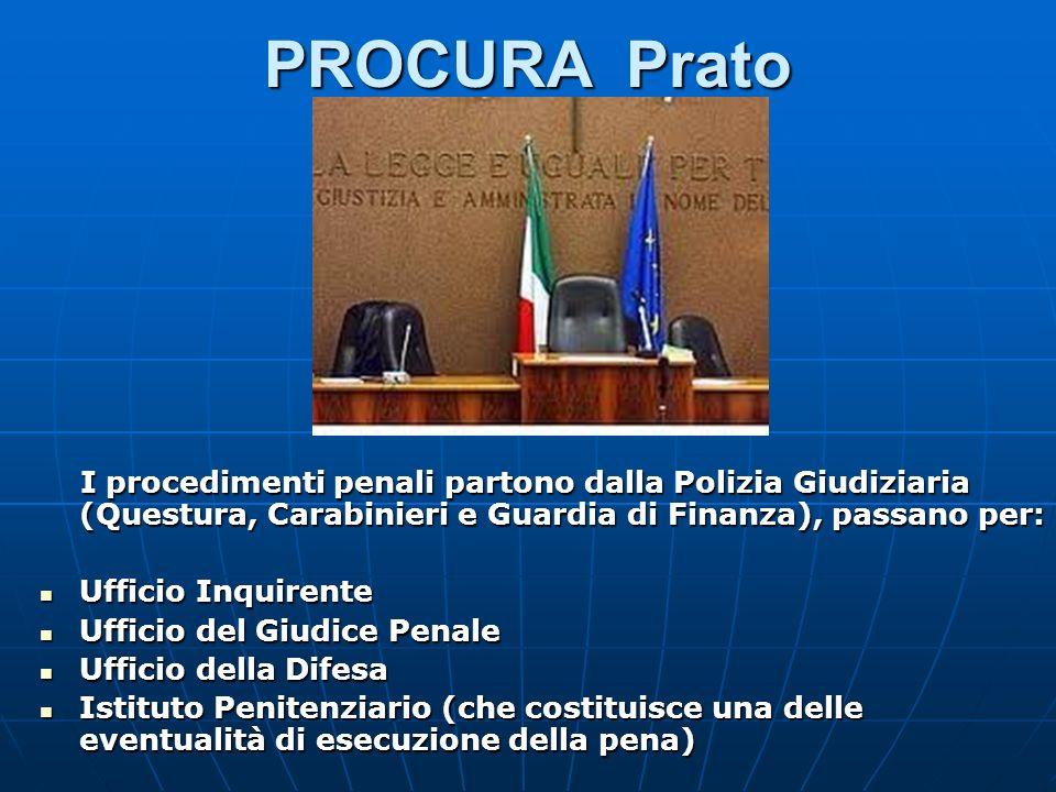 PROCURA Prato I procedimenti penali partono dalla Polizia Giudiziaria (Questura, Carabinieri e Guardia di Finanza), passano per: