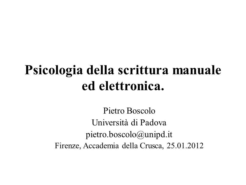 Psicologia della scrittura manuale ed elettronica.