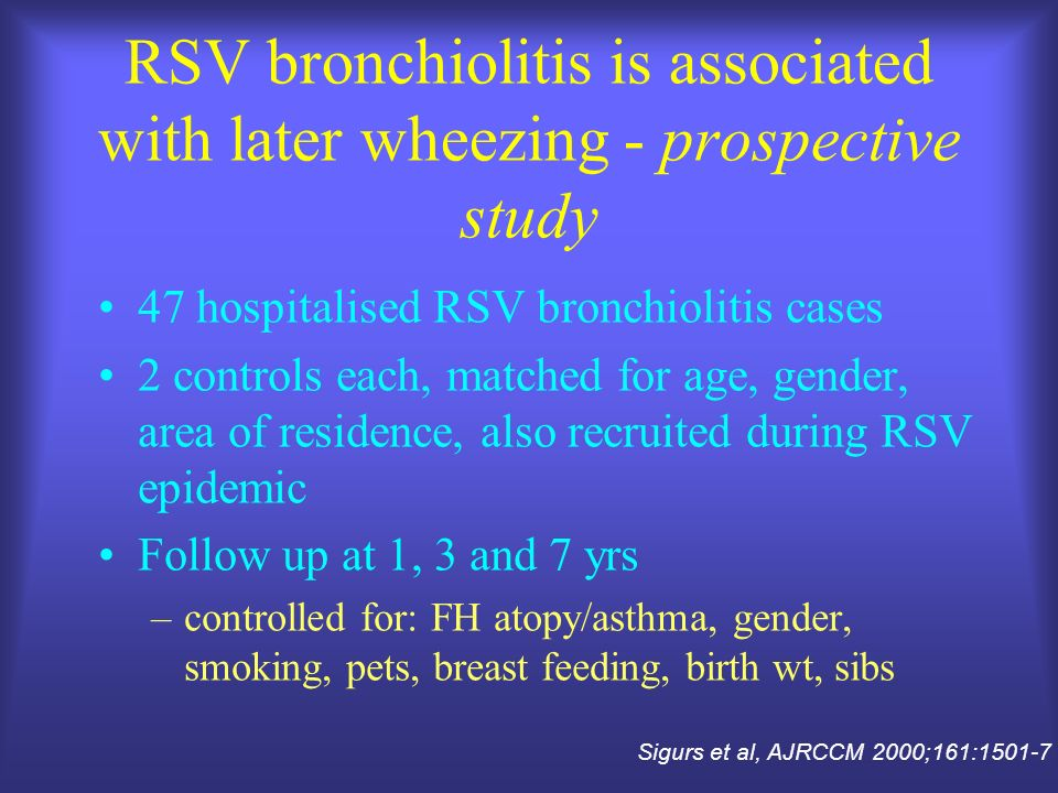 RSV bronchiolitis is associated with later wheezing - prospective study