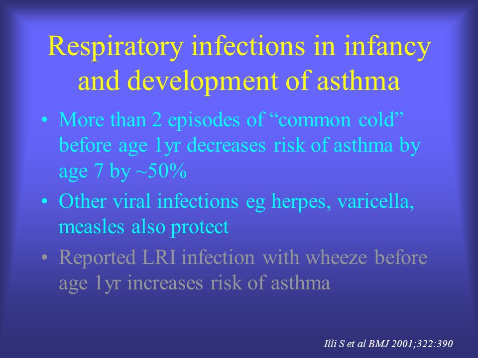 Respiratory infections in infancy and development of asthma