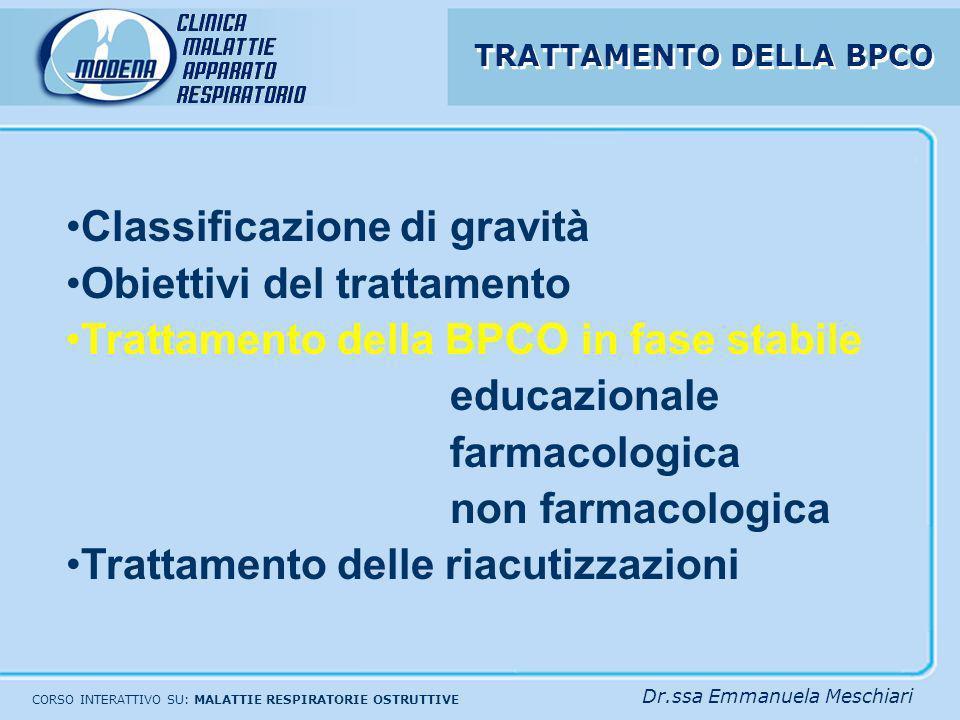 Classificazione di gravità Obiettivi del trattamento