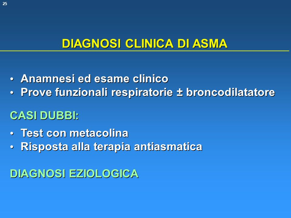 DIAGNOSI CLINICA DI ASMA