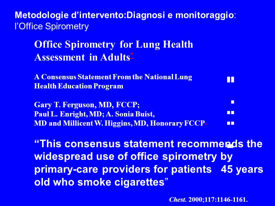 Office Spirometry for Lung Health Assessment in Adults*