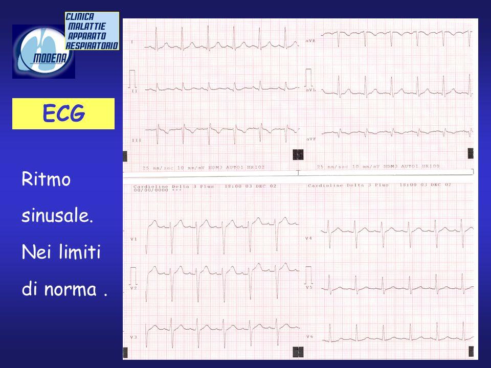 ECG Ritmo sinusale. Nei limiti di norma .