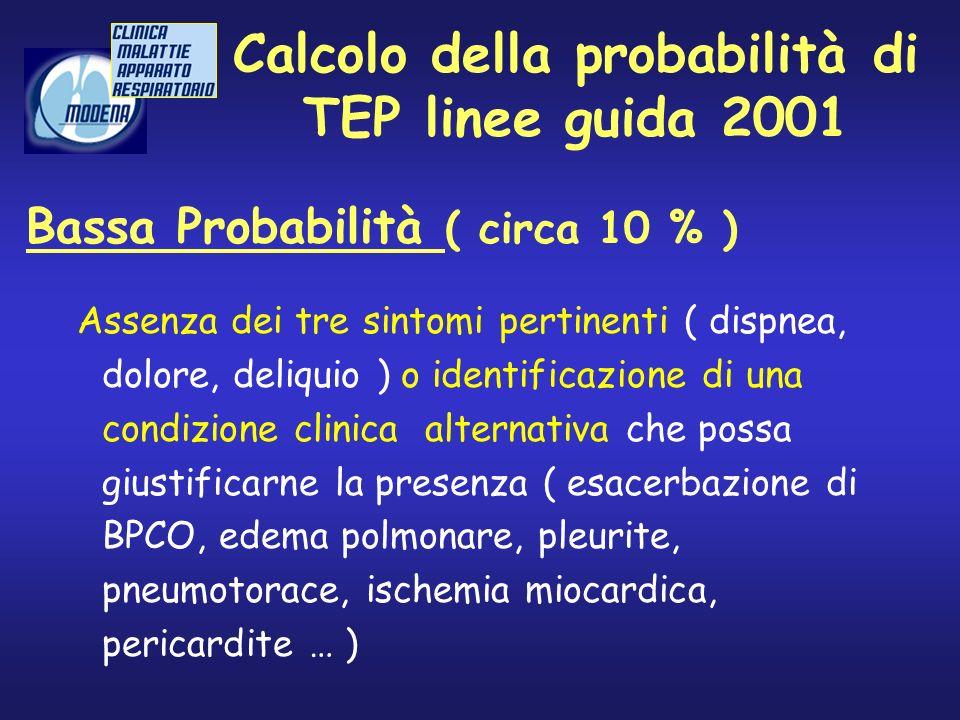 Calcolo della probabilità di TEP linee guida 2001