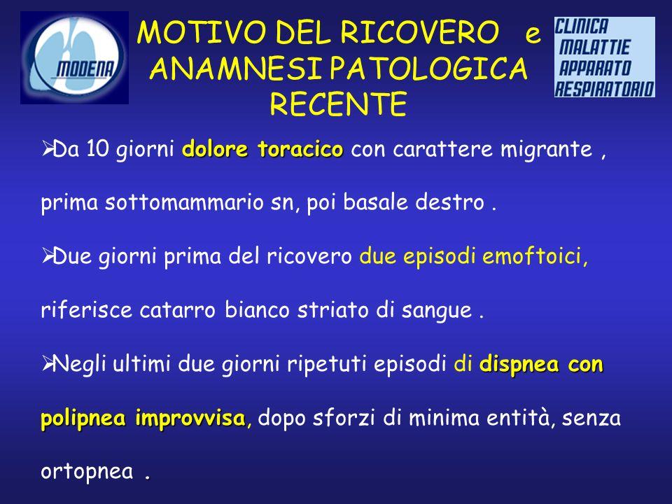 MOTIVO DEL RICOVERO e ANAMNESI PATOLOGICA RECENTE