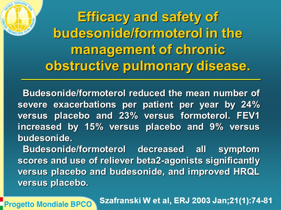 Efficacy and safety of budesonide/formoterol in the management of chronic obstructive pulmonary disease.