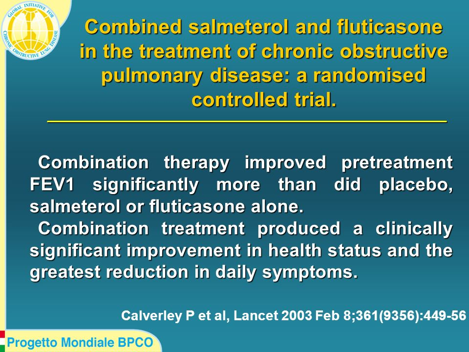 Combined salmeterol and fluticasone in the treatment of chronic obstructive pulmonary disease: a randomised controlled trial.