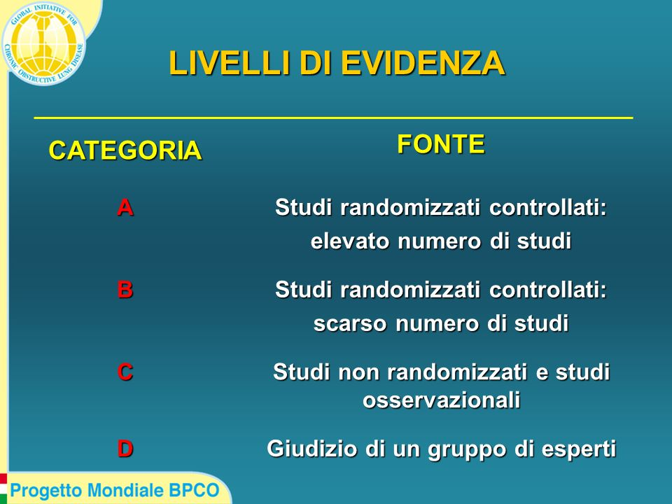 LIVELLI DI EVIDENZA CATEGORIA FONTE A Studi randomizzati controllati: