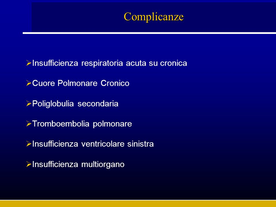 Complicanze Insufficienza respiratoria acuta su cronica