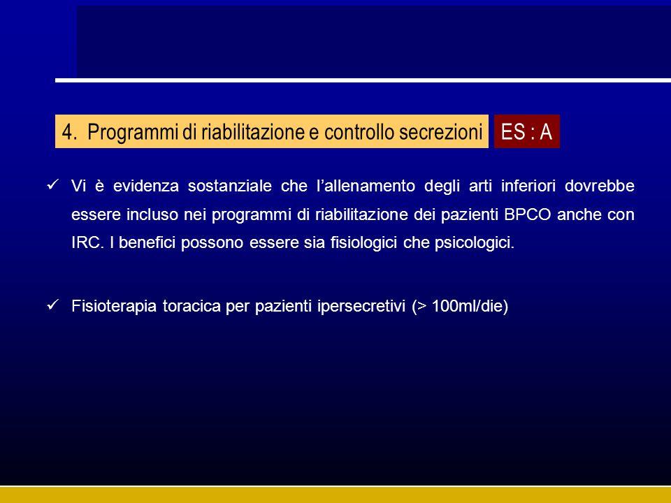 Programmi di riabilitazione e controllo secrezioni ES : A