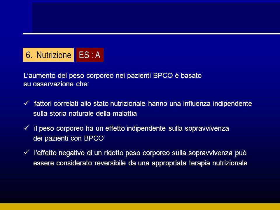 Nutrizione ES : A. L'aumento del peso corporeo nei pazienti BPCO è basato. su osservazione che: