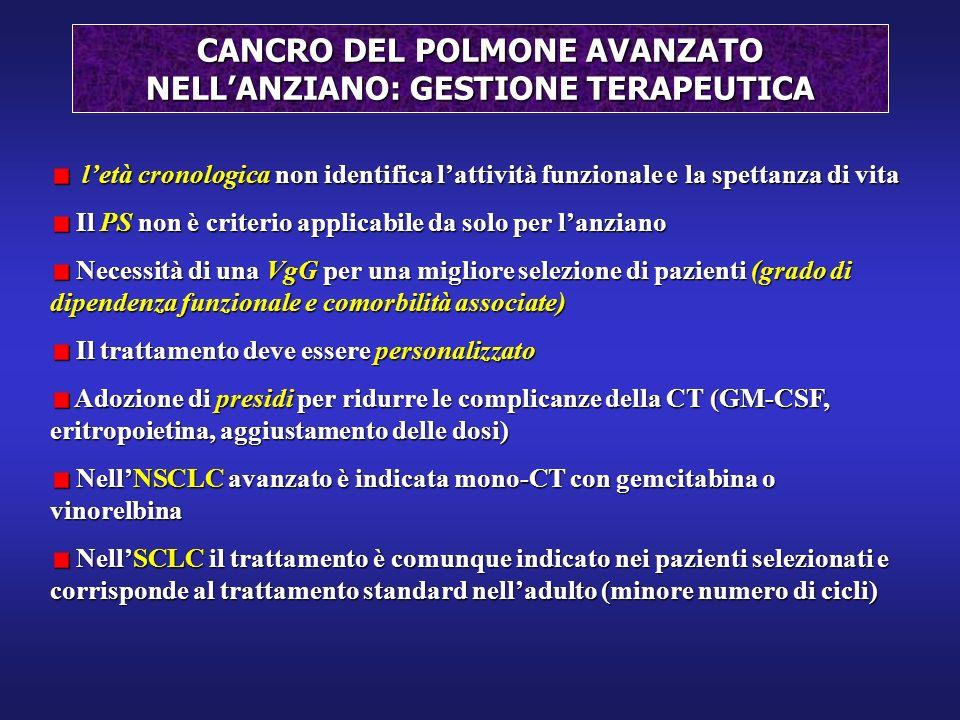 CANCRO DEL POLMONE AVANZATO NELL'ANZIANO: GESTIONE TERAPEUTICA