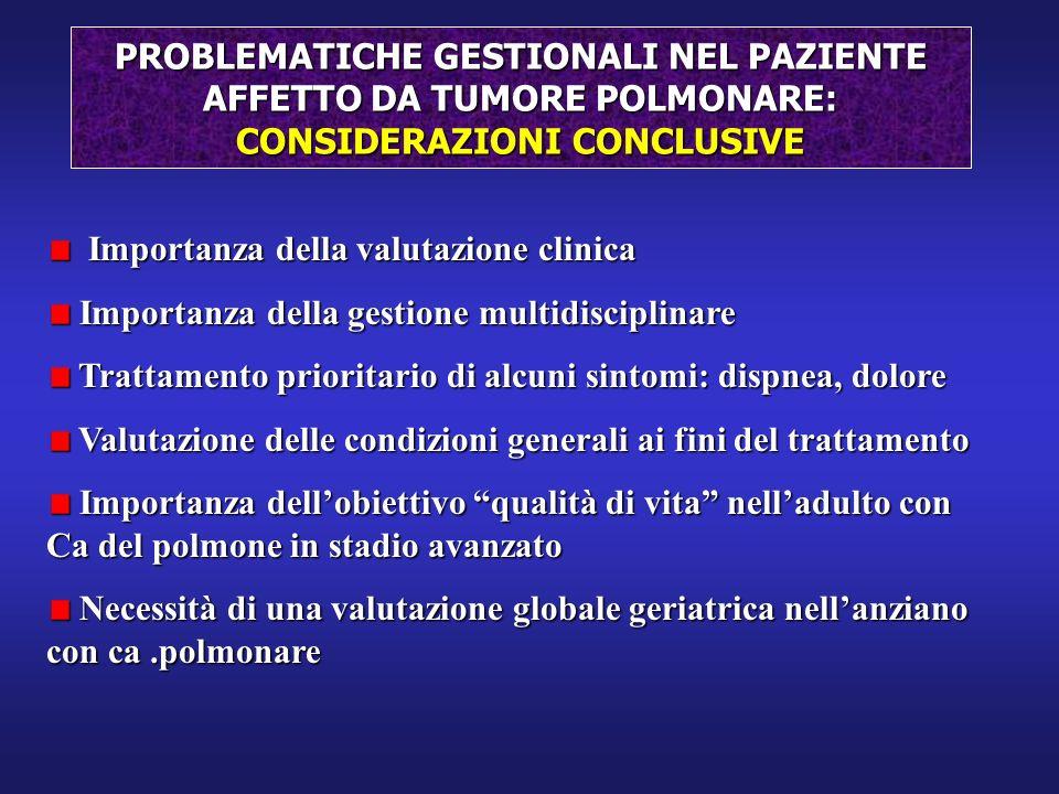 PROBLEMATICHE GESTIONALI NEL PAZIENTE AFFETTO DA TUMORE POLMONARE: CONSIDERAZIONI CONCLUSIVE