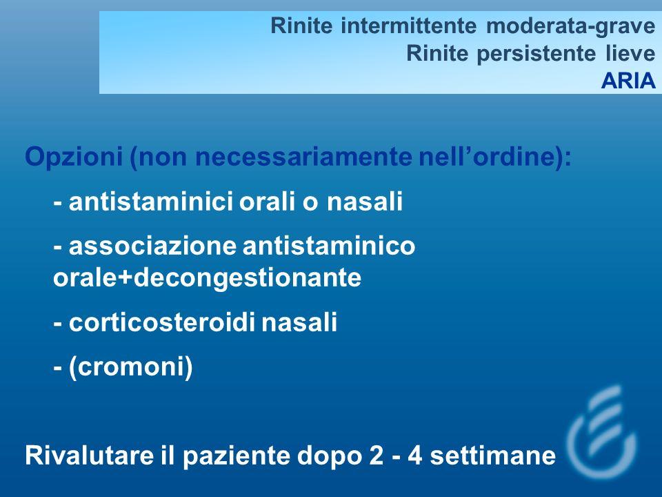 Rinite intermittente moderata-grave Rinite persistente lieve ARIA