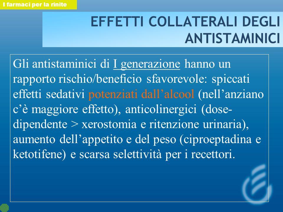 EFFETTI COLLATERALI DEGLI ANTISTAMINICI