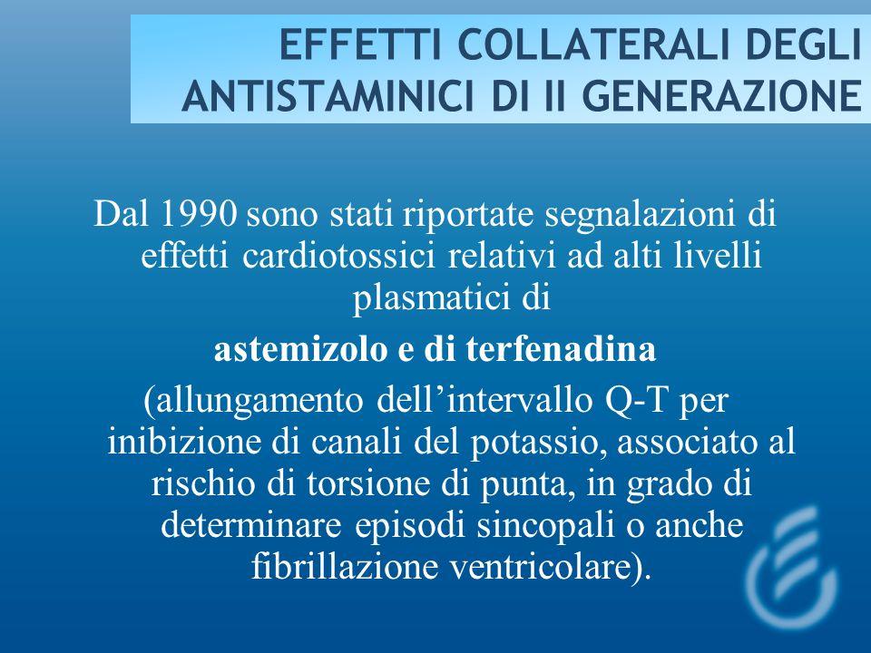 EFFETTI COLLATERALI DEGLI ANTISTAMINICI DI II GENERAZIONE