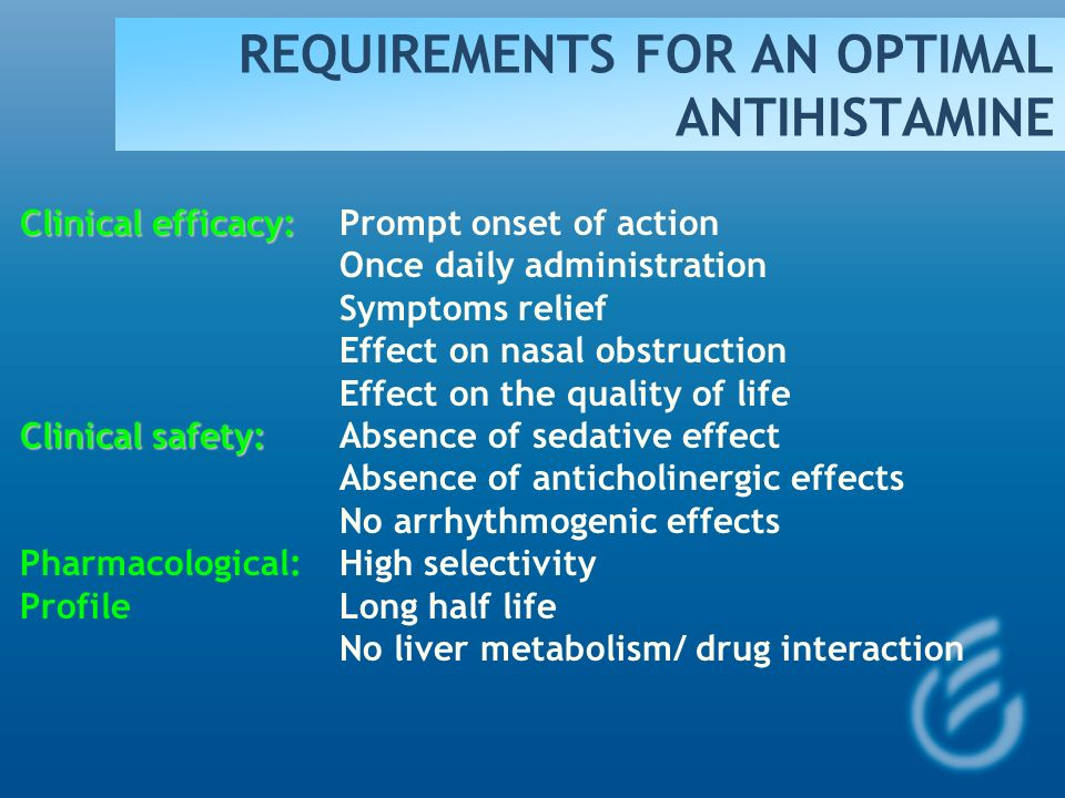 REQUIREMENTS FOR AN OPTIMAL ANTIHISTAMINE