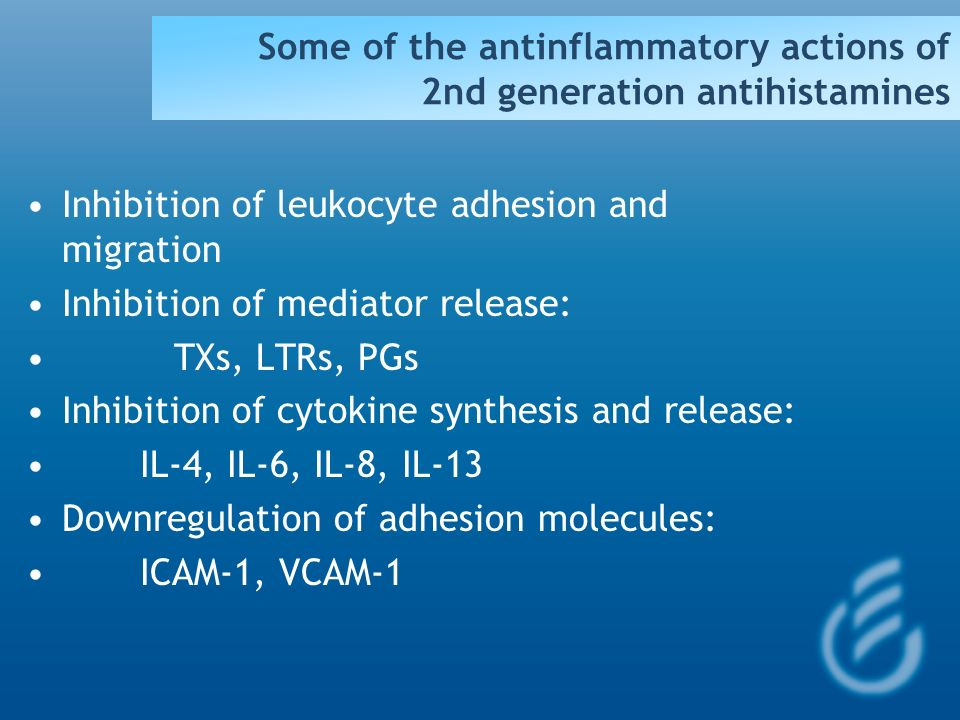Some of the antinflammatory actions of 2nd generation antihistamines
