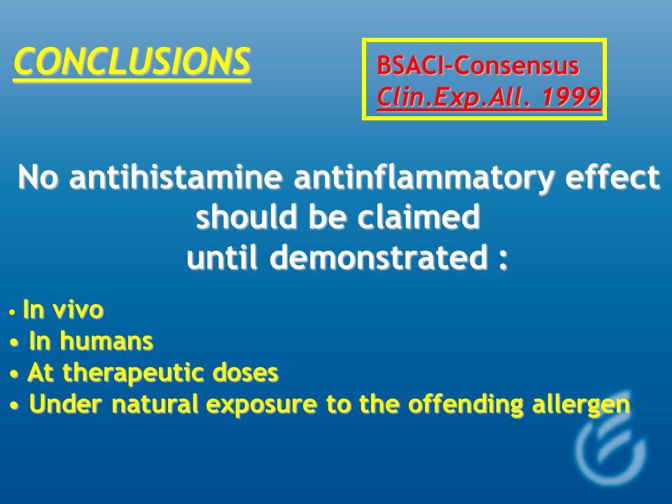 No antihistamine antinflammatory effect