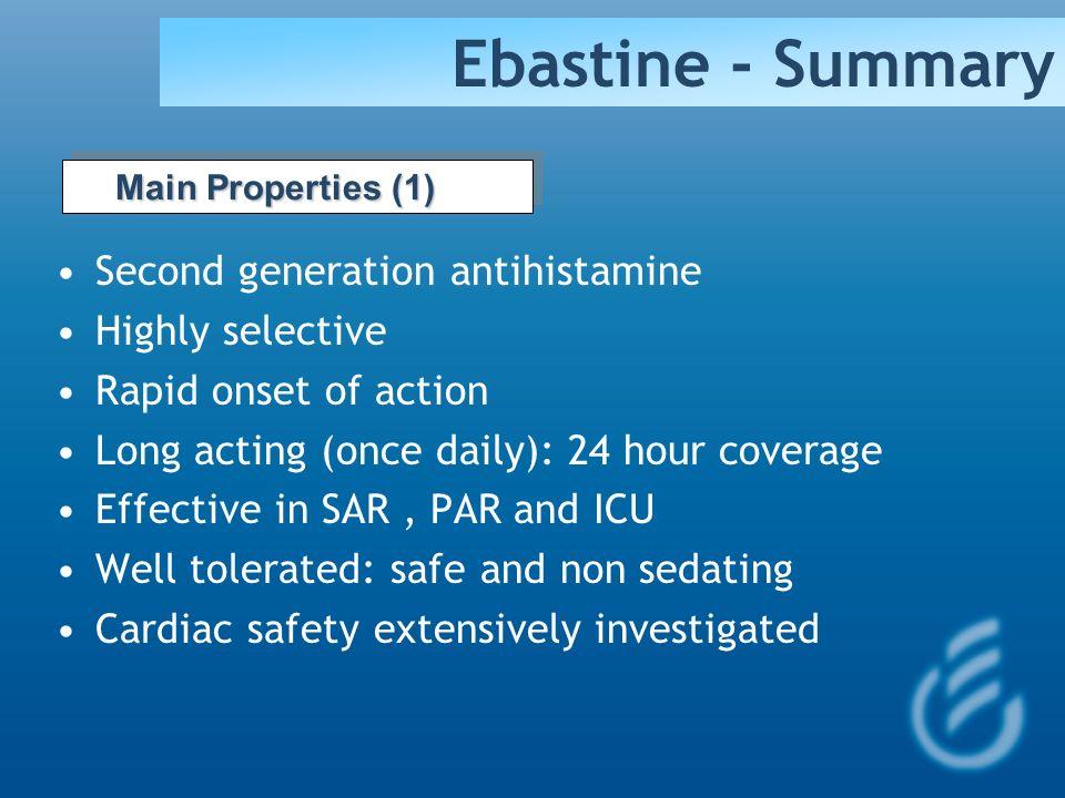 Ebastine - Summary Second generation antihistamine Highly selective