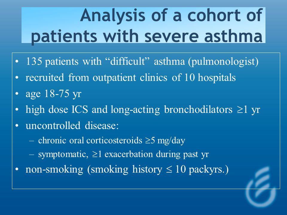 Analysis of a cohort of patients with severe asthma