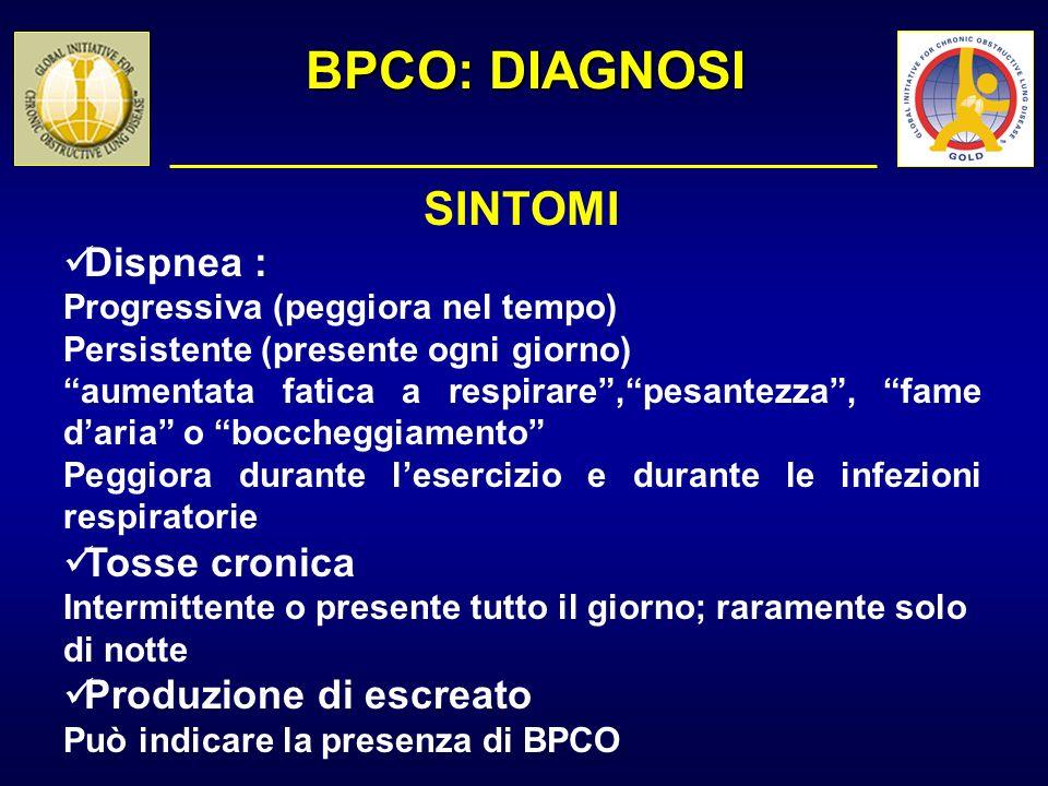 BPCO: DIAGNOSI SINTOMI Dispnea : Tosse cronica Produzione di escreato