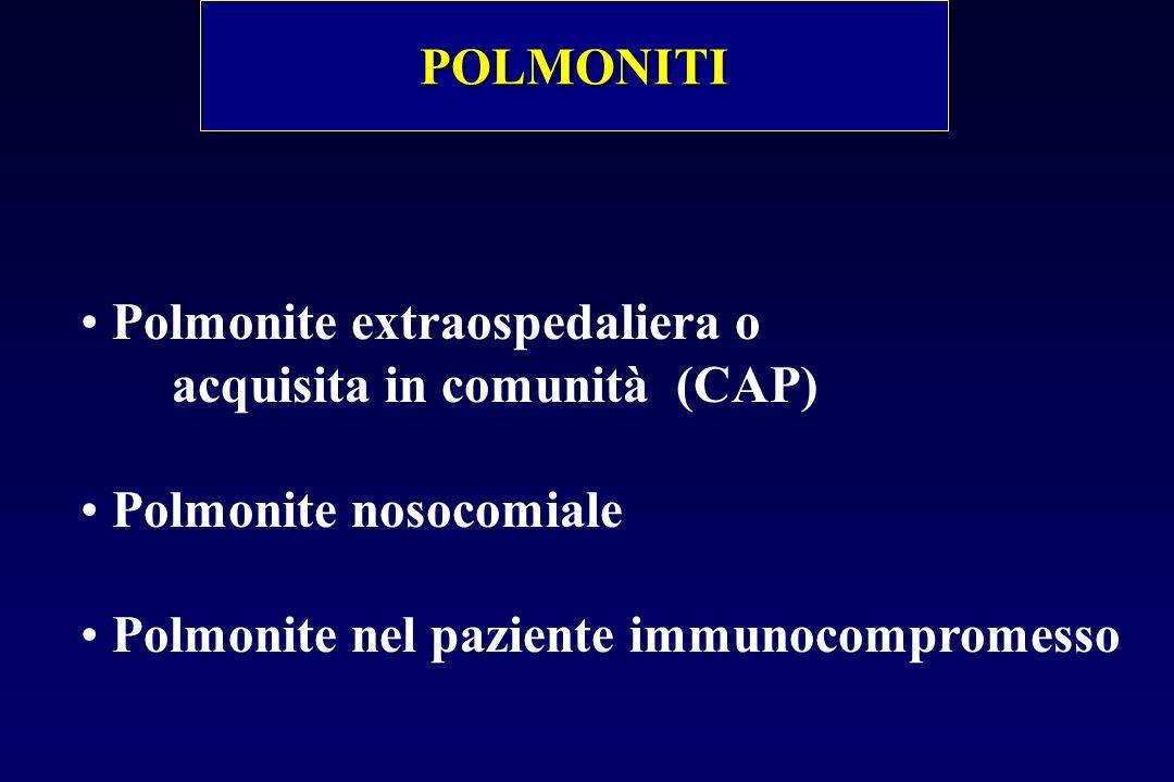 POLMONITI Polmonite extraospedaliera o. acquisita in comunità (CAP) Polmonite nosocomiale.