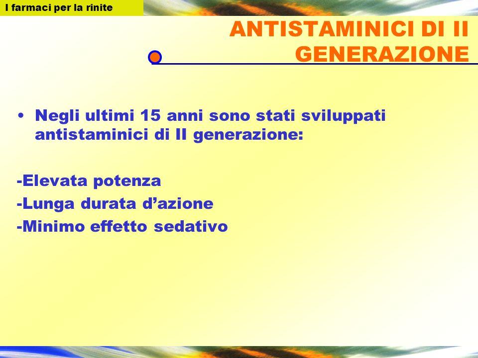 ANTISTAMINICI DI II GENERAZIONE