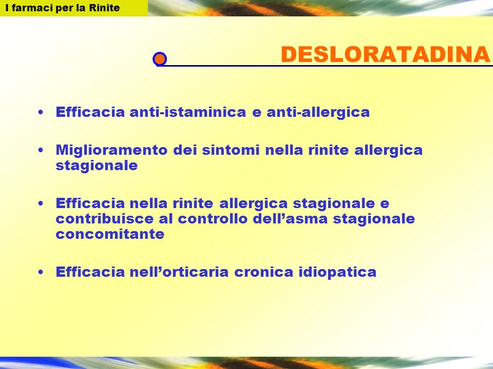 DESLORATADINA Efficacia anti-istaminica e anti-allergica