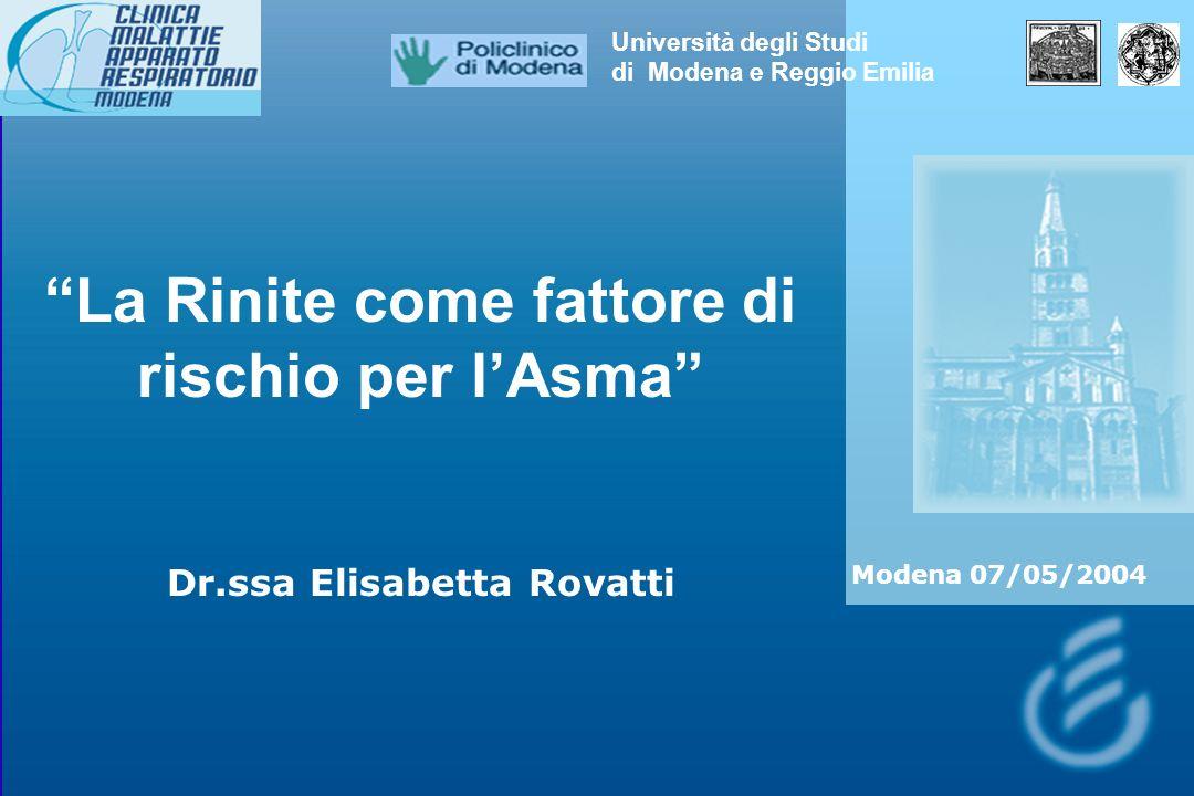 La Rinite come fattore di rischio per l'Asma
