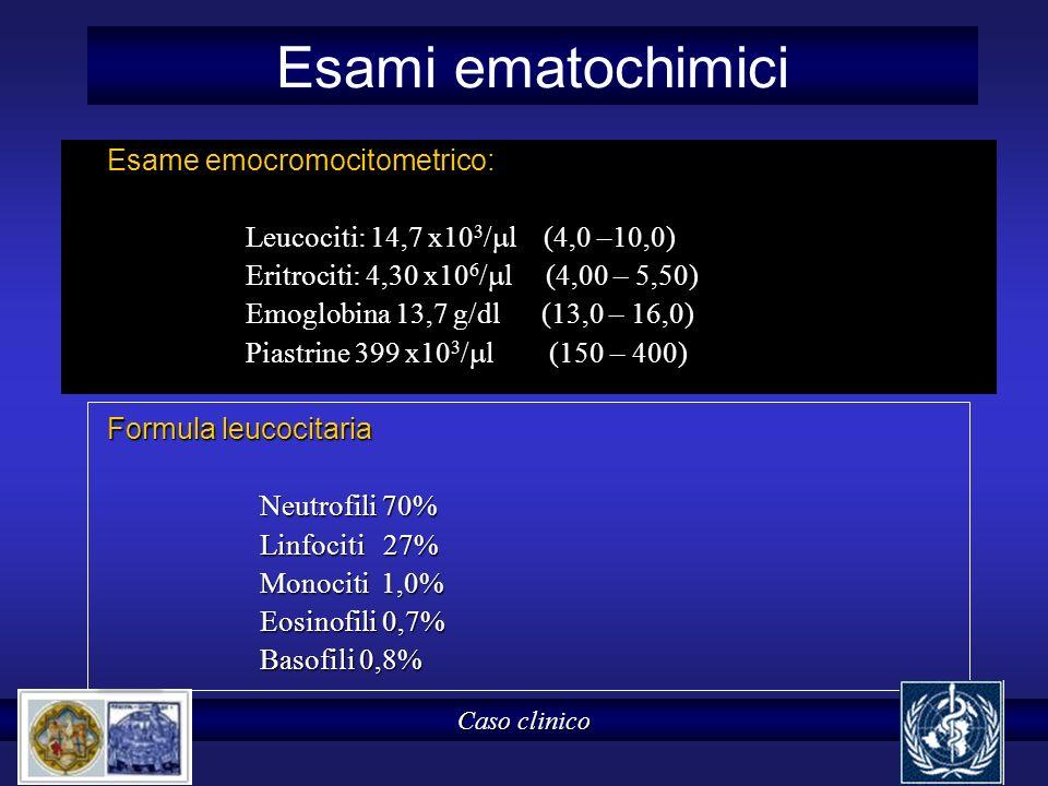 Esami ematochimici Esame emocromocitometrico: