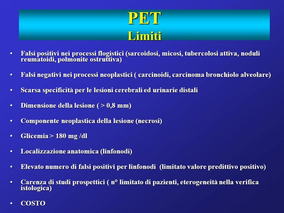 PET Limiti Falsi positivi nei processi flogistici (sarcoidosi, micosi, tubercolosi attiva, noduli reumatoidi, polmonite ostruttiva)