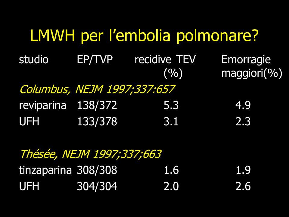 LMWH per l'embolia polmonare