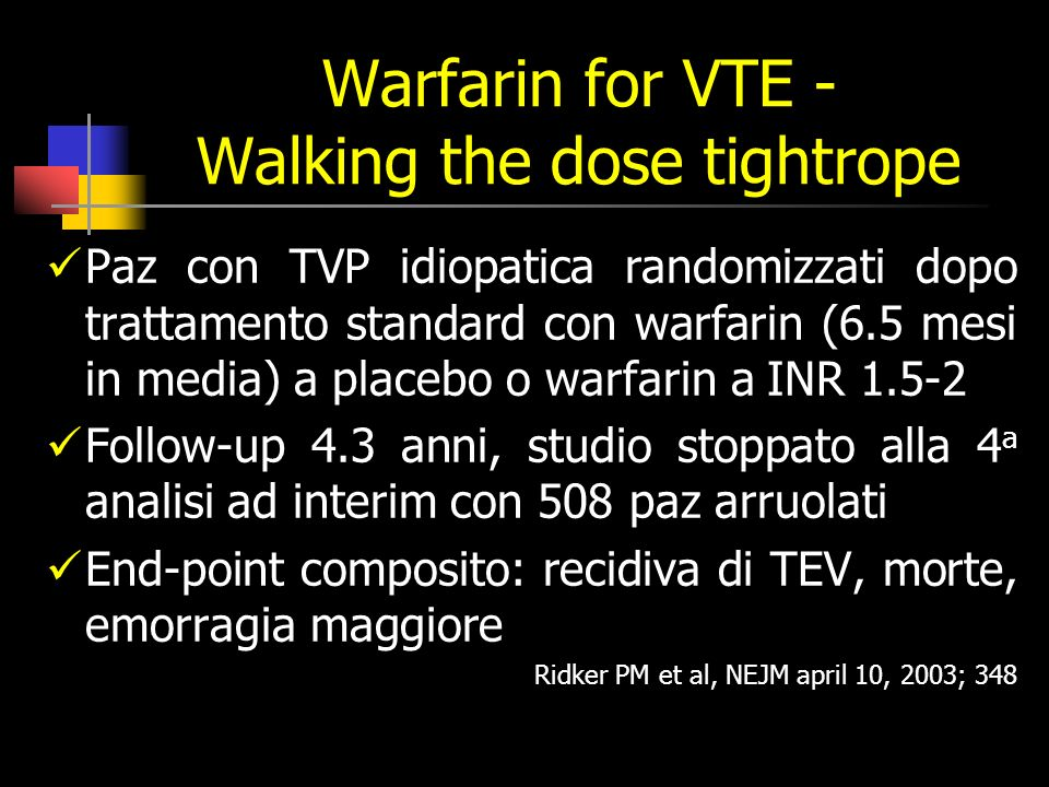 Warfarin for VTE - Walking the dose tightrope
