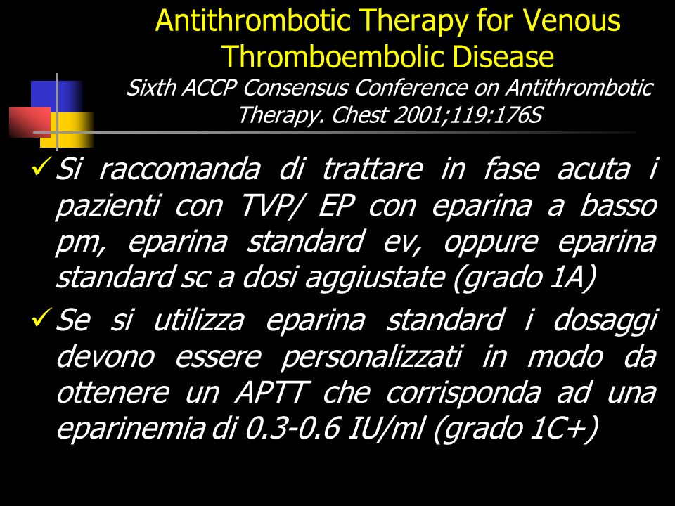 Antithrombotic Therapy for Venous Thromboembolic Disease Sixth ACCP Consensus Conference on Antithrombotic Therapy. Chest 2001;119:176S