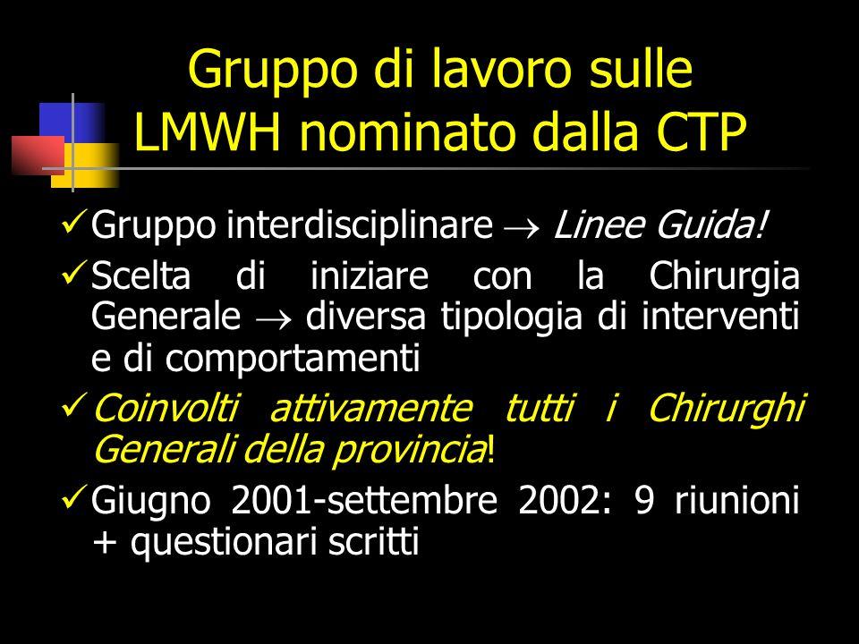 Gruppo di lavoro sulle LMWH nominato dalla CTP