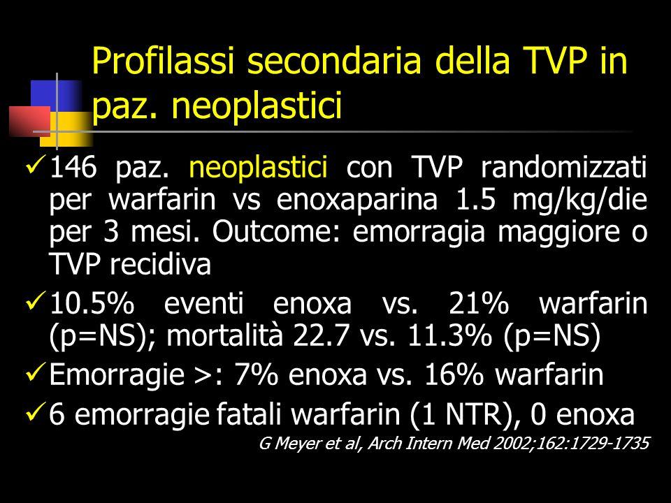 Profilassi secondaria della TVP in paz. neoplastici