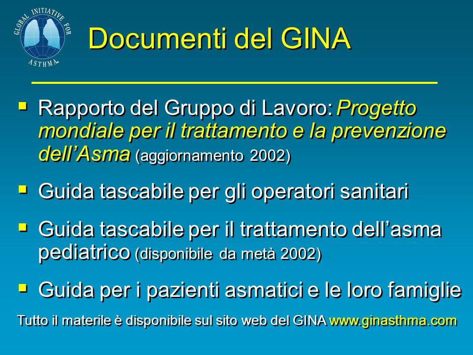 Documenti del GINA Rapporto del Gruppo di Lavoro: Progetto mondiale per il trattamento e la prevenzione dell'Asma (aggiornamento 2002)
